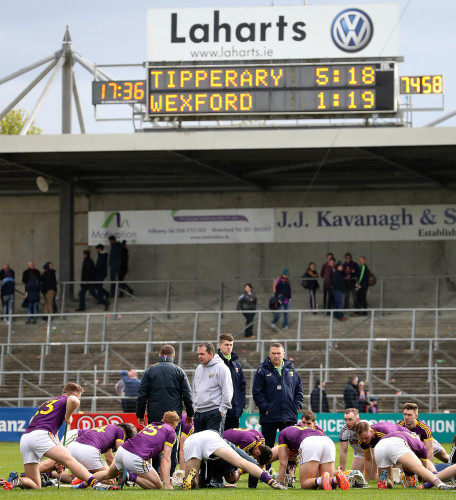 Davy Fitzgerald speaks to his team after the game