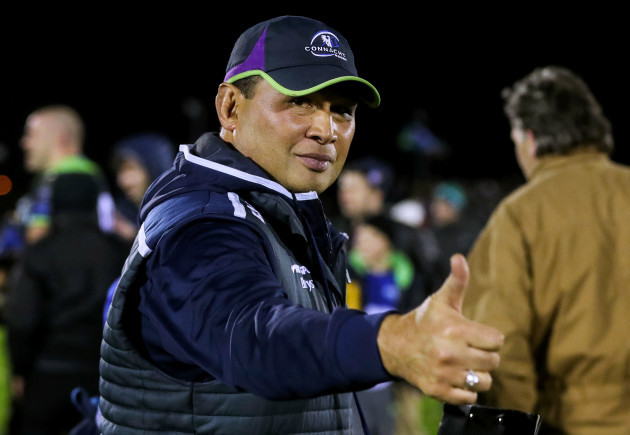 Pat Lam celebrates after the game