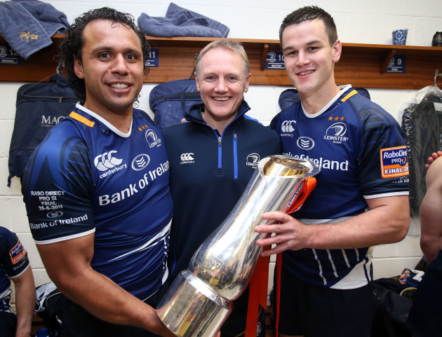 Isa Nacewa, Joe Schmidt and Jonathan Sexton celebrate