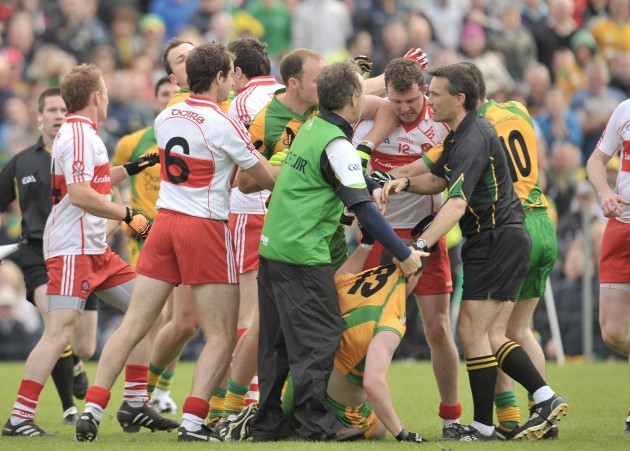 A fight breaks out during the match