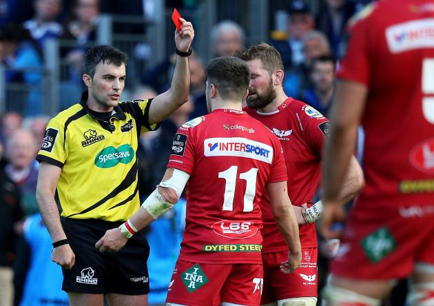 Steff Evans is sent off after a tackle on Garry Ringrose