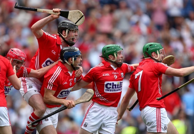 Shane O'Neill, Christopher Joyce, Daniel Kearney and William Egan celebrate at the final whistle