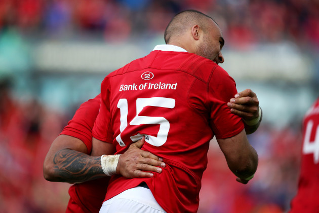 Simon Zebo celebrates scoring a try with Francis Saili