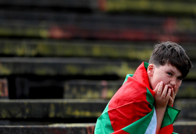 A Mayo fan looks on