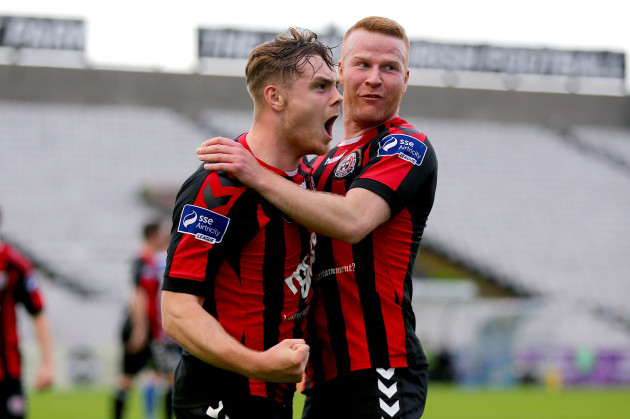 George Poynton celebrates his goal with Lorcan Fitzgerald