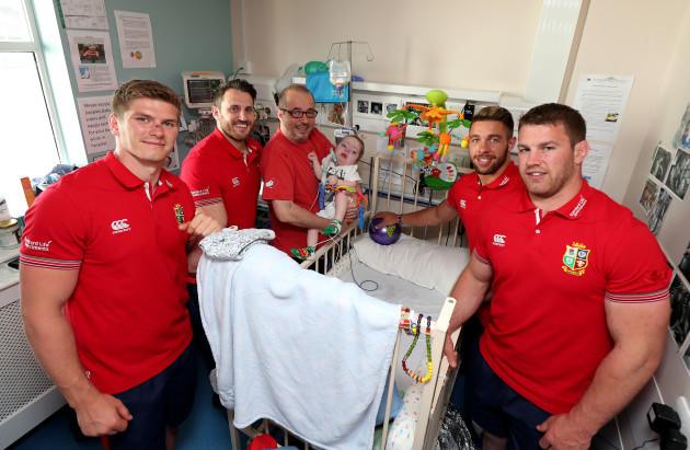 Owen Farrell, Tommy Seymour, Rhys Webb and Sean O'Brien with Henry Donnelly and Dad Robbie