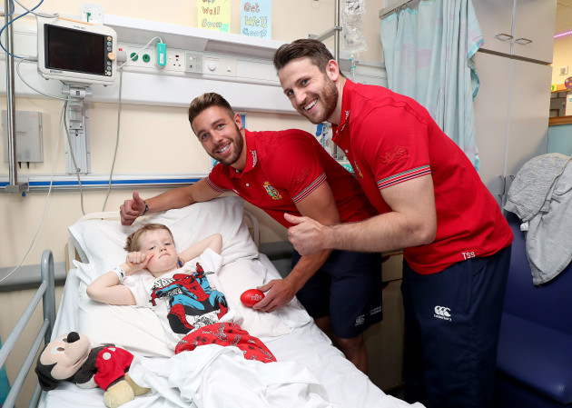 Rhys Webb and Tommy Seymour with Cameron Stanley