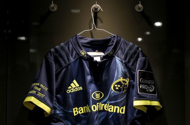 A view of a Munster jersey in the dressing room