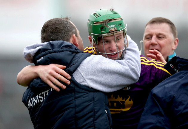 Davy Fitzgerald celebrates with Conor McDonald at the final whistle