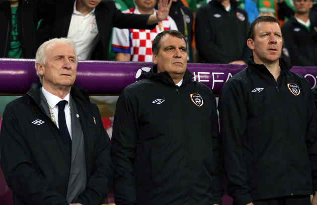 Giovanni Trapattoni, assistant Marco Tardelli and coach Alan Kelly