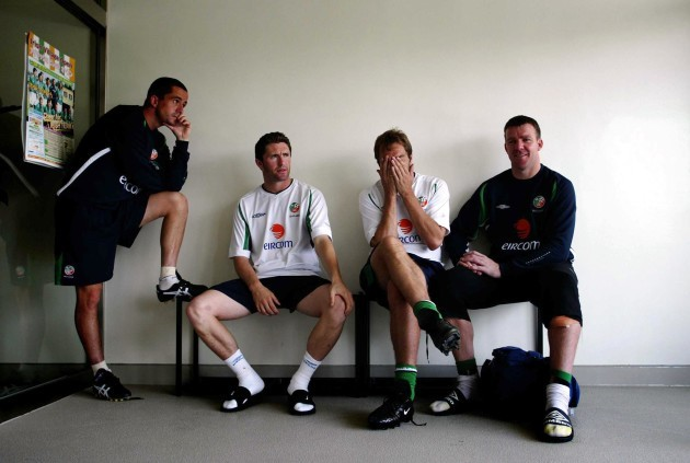 Ireland players before the press conference 10/6/2002