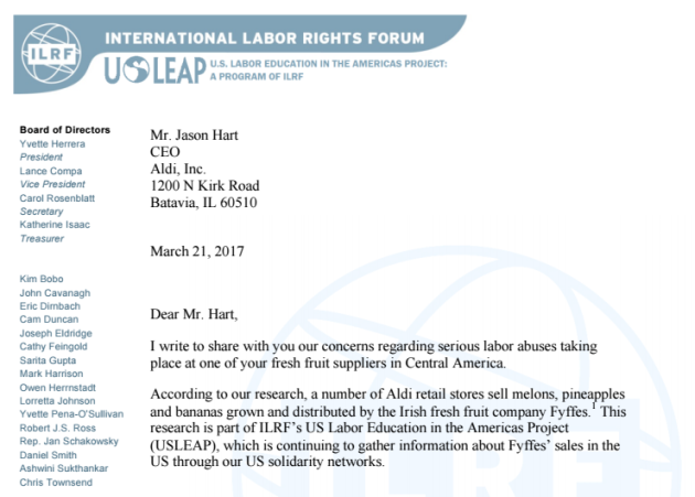 letter sent by US LEAP to Aldi 2