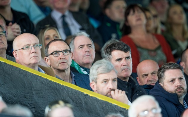 Republic of Ireland manager Marin O'Neill and assistant mangager Roy Keane watch the game