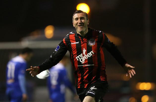 Jason Byrne celebrates scoring their second goal