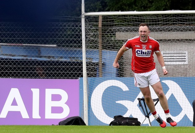Paul Kerrigan celebrates after scoring from a tight angle
