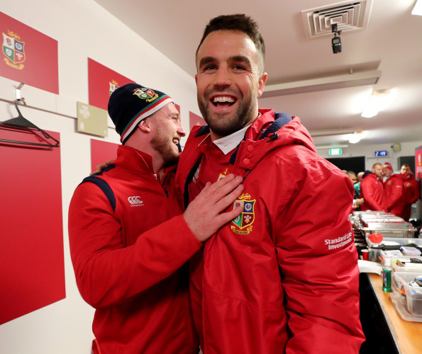 Stuart Hogg and Conor Murray celebrate winning