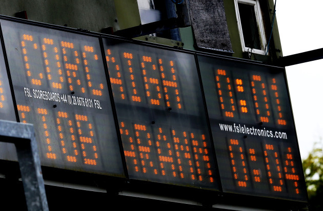 A view of the scoreboard at half-time