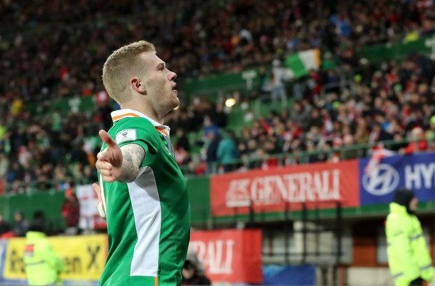 James McClean celebrates scoring the opening goal of the game