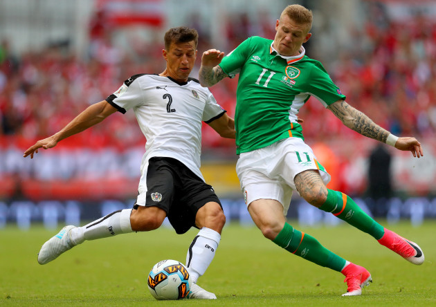 James McClean with Stefan Lainer
