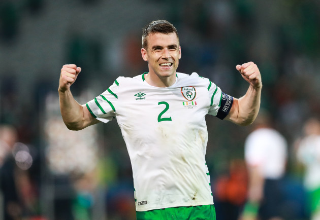Seamus Coleman celebrates at the final whistle