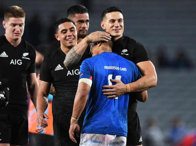 Sonny Bill Williams consoles Tim Nani Williams after the game