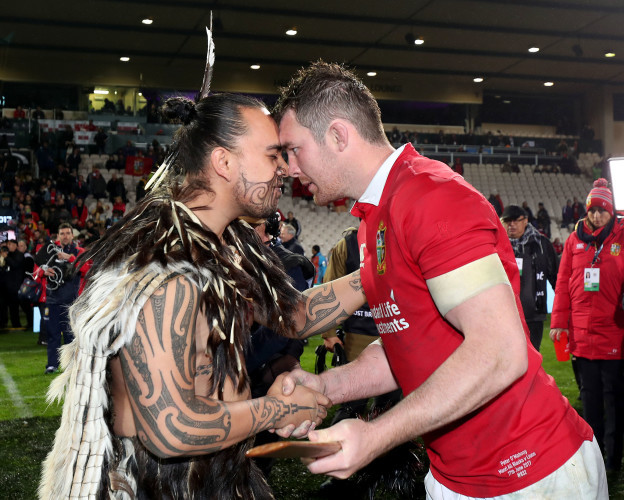 Peter O'Mahony receives a hongi after the game