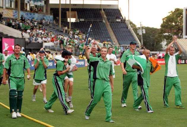The Irish team celebrate beating Pakistan in Sabina Park