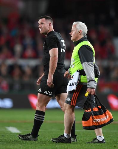 Ryan Crotty goes off injured