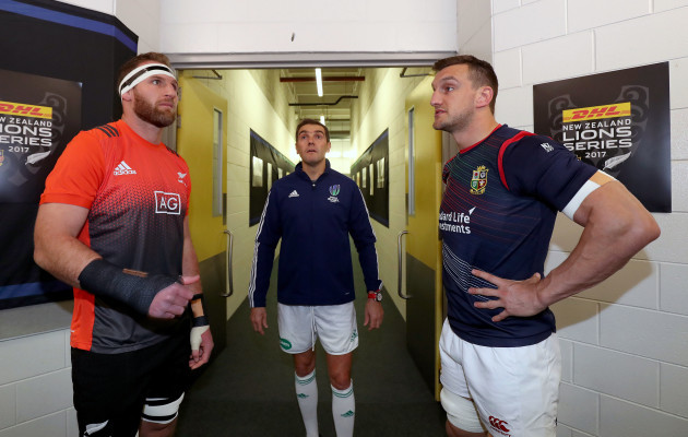 Kieran Read with Sam Warburton and Jerome Garces at the coin toss