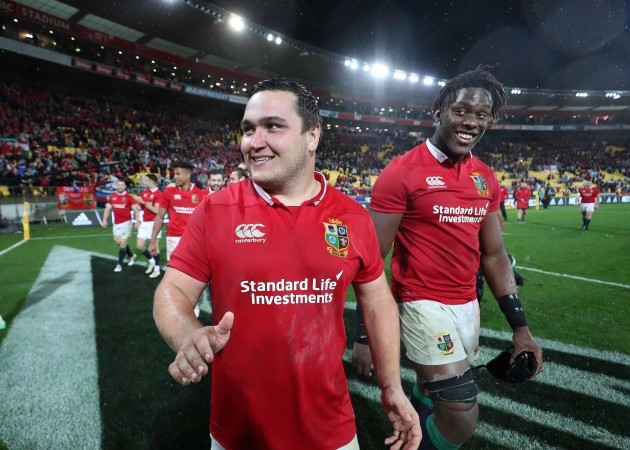 Jamie George and Maro Itoje celebrate winning