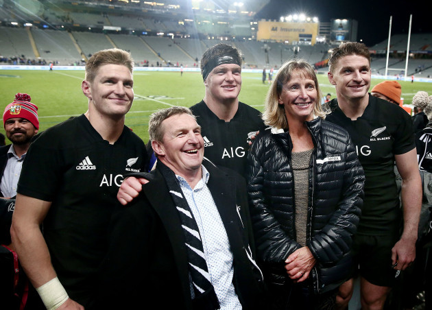 Jordie, Scott and Beauden Barrett with their parents Kevin and Robyn Barrett