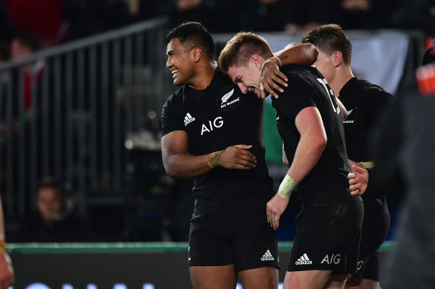 Jordie Barrett celebrates scoring their second try with Julian Savea