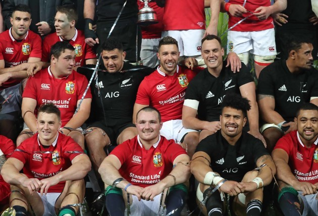Jamie George, Rhys Webb, Israel Dagg, Jonathan Davies, Ken Owens and Ardie Savea after the game