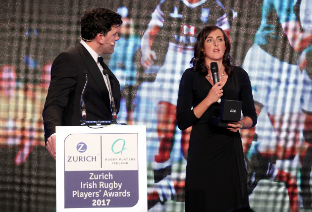 Hannah Tyrrell is presented with the Zurich Contribution to Irish Society Award