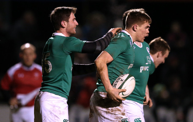 Billy Dardis celebrates with Garry Ringrose after he scored a try
