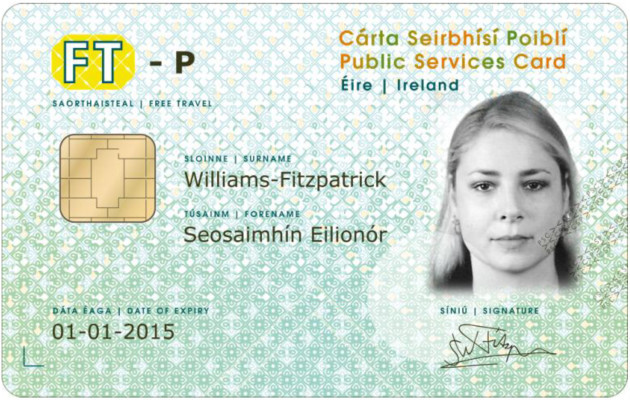 An examples of the new-style Public Services Free Travel Card
