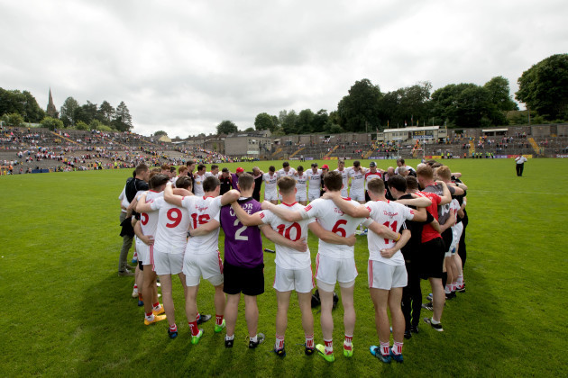 The Tyrone team huddle