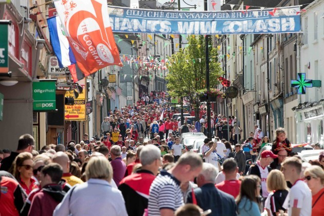 Fans throng the streets in Clones for the Ulster Final