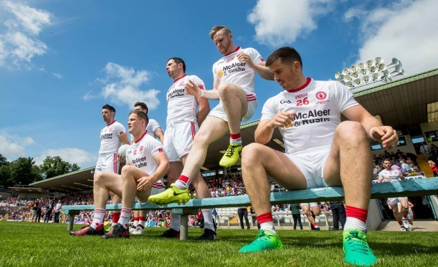 Tyrone players prepare for the team photo