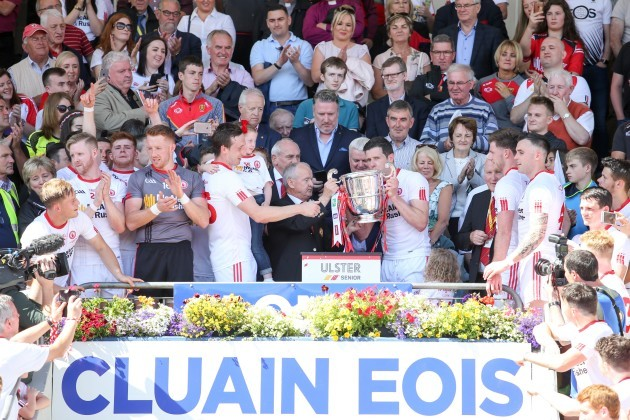 Sean Cavanagh lifts the cup