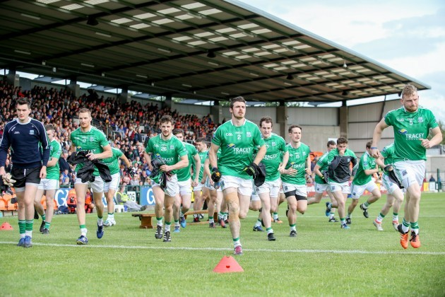 Fermanagh players make their way onto the pitch