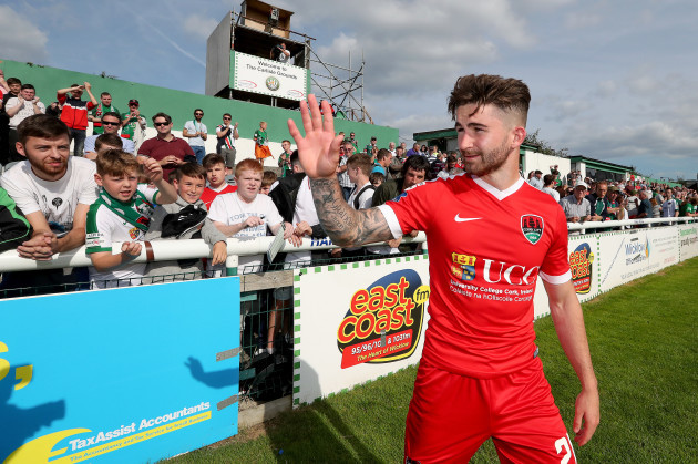 Sean Maguire says goodbye to fans after the game