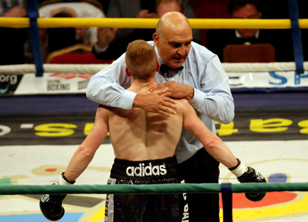 Willie Casey with Referee Stanley Christodoulou after he stoped the fight