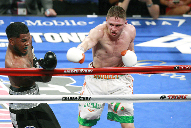 Jason Quigley in action against James De La Rosa