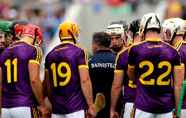 Davy Fitzgerald speaks to his team before the game