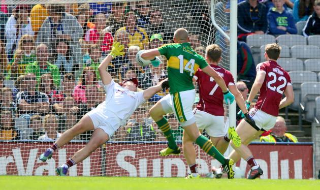 Kieran Donaghy scores his sides opening goal past goalkeeper Bernard Power