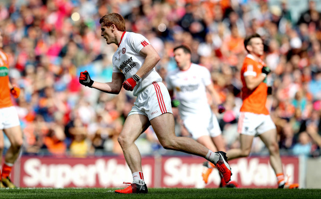 Peter Harte scores the fist goal of the game with a penalty
