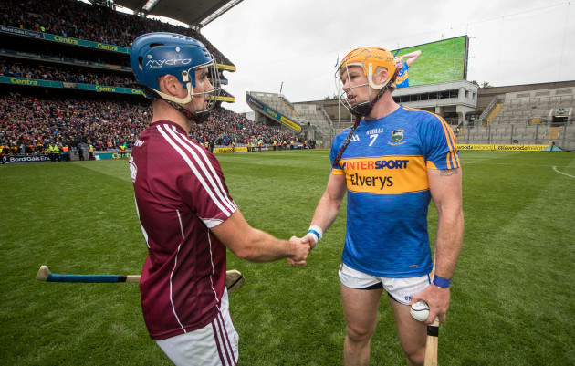 Johnny Coen with Padraig Maher after the game