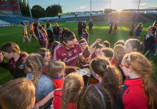 Niamh McGrath signs hurlers after the game
