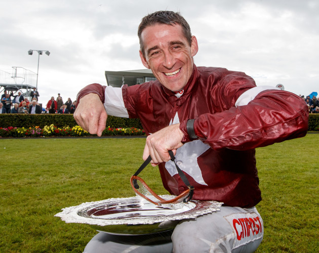 Davy Russell with the Galway Plate after winning with Balko Des Flos